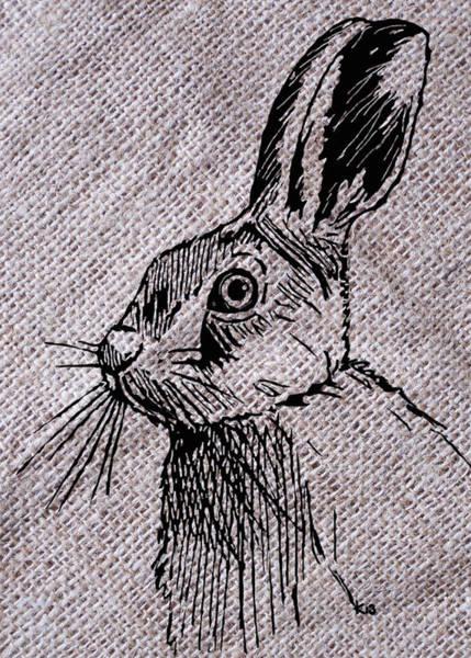 Digital Art - Hare On Burlap by Konni Jensen