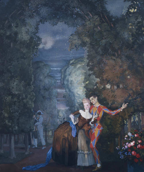 Theatrical Painting - Harlequin And A Lady by Konstantin Andreevic Somov
