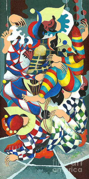 Wall Art - Painting - Harlequins Acting Weird - Why?... by Elisabeta Hermann