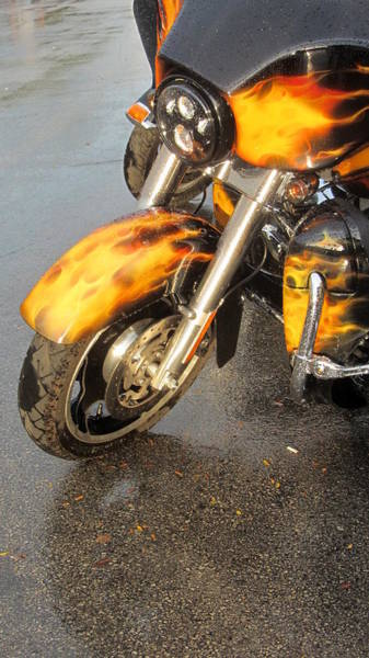 Photograph - Harley Close-up Fire Flame 2 by Anita Burgermeister