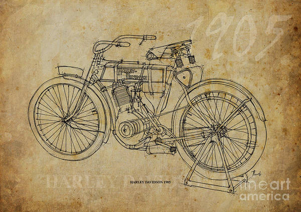 Harley Davidson Painting - Harley Davidson 1905 by Drawspots Illustrations