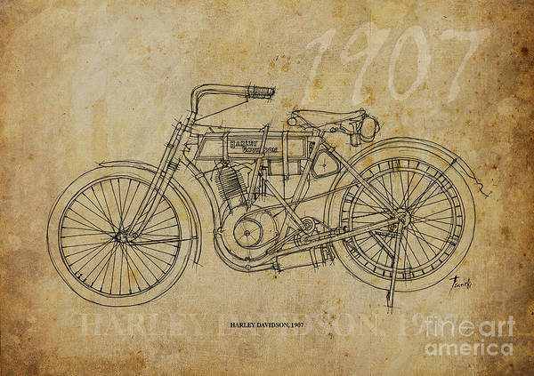 Harley Davidson Painting - Harley Davidson 1907 by Drawspots Illustrations