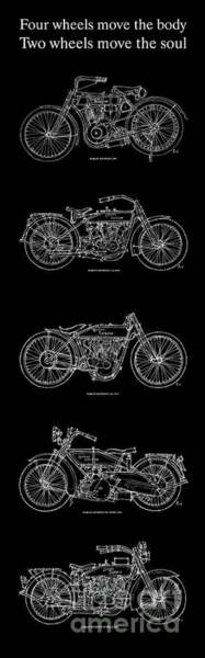 Harley Davidson Painting - Harley Davidson - 1907 To 1921 by Drawspots Illustrations