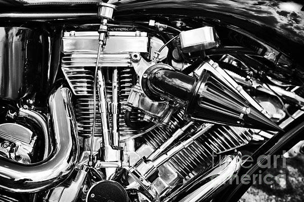 Harley Davidson Black And White Wall Art - Photograph - Harley Davidson Chrome Engine by Tim Gainey