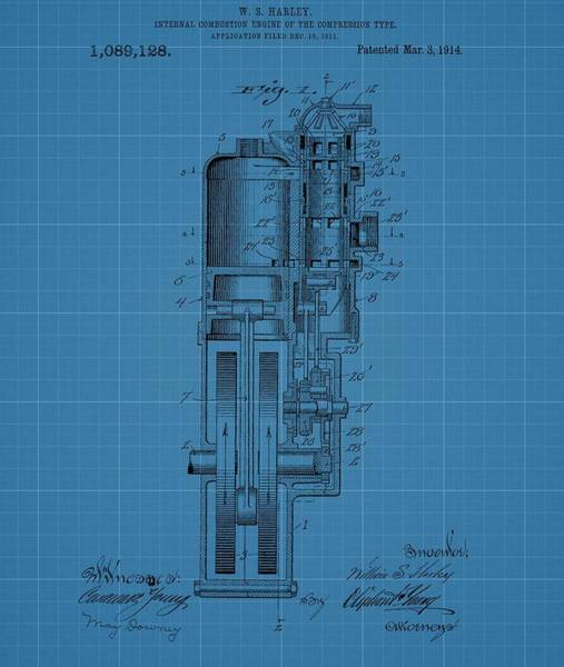 Speed Mixed Media - Harley Davidson Engine Blueprint by Dan Sproul