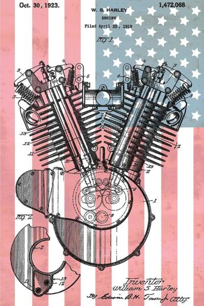 Hard Rock Mixed Media - Harley Davidson Engine Patent American Flag by Dan Sproul