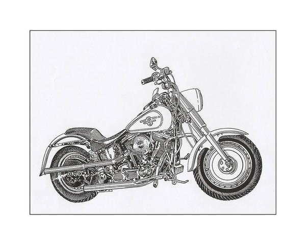 Yourself Drawing - 1936 Harley Davidson Fat Boy by Jack Pumphrey