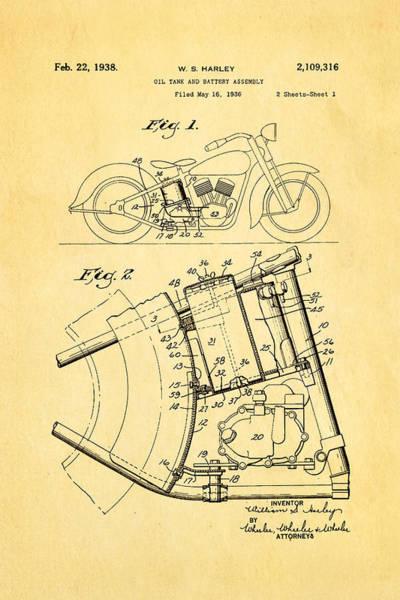 Fitter Photograph - Harley Davidson Horseshoe Oil Tank Patent Art 1938 by Ian Monk