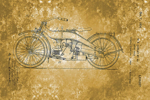 Painting - Harley Davidson Motor Cycle Patent From 1924 by Celestial Images