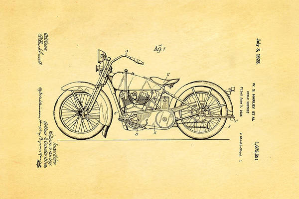 Wall Art - Photograph - Harley Davidson Motor Cycle Support Patent Art 1928 by Ian Monk