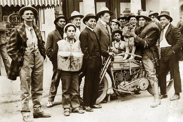 Photograph - Harley - Davidson Motorcycle California Circa 1920 by California Views Archives Mr Pat Hathaway Archives