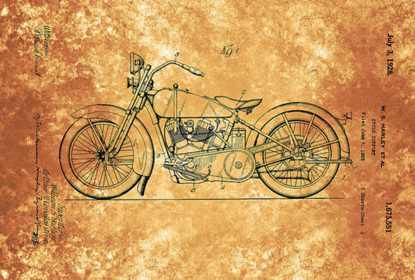 Painting - Harley Davidson Motorcycle Cycle Support Patent 1928 by Celestial Images