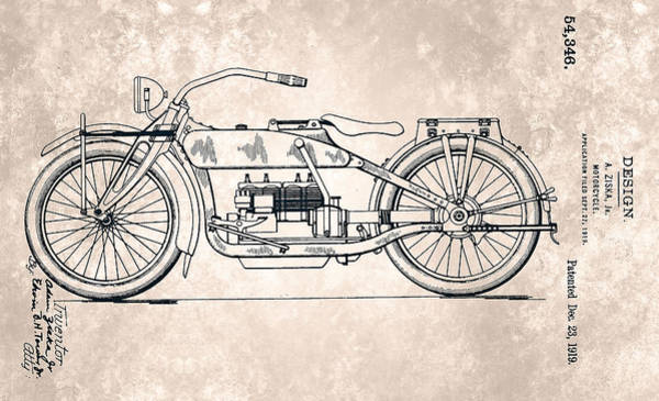 Painting - Harley-davidson Motorcycle Patent From 1919 by Celestial Images