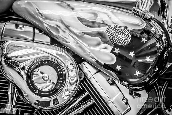 Harley Davidson Black And White Wall Art - Photograph - Harley Davidson Motorcycle Stars And Stripes Fuel Tank - Black And White by Ian Monk