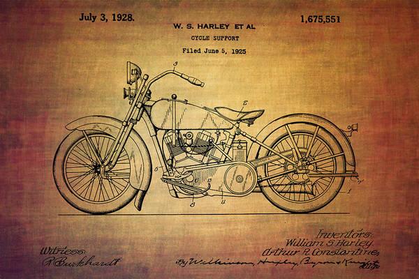 Exhaust Digital Art - Harley Davidson Patent From 1928 by Eti Reid