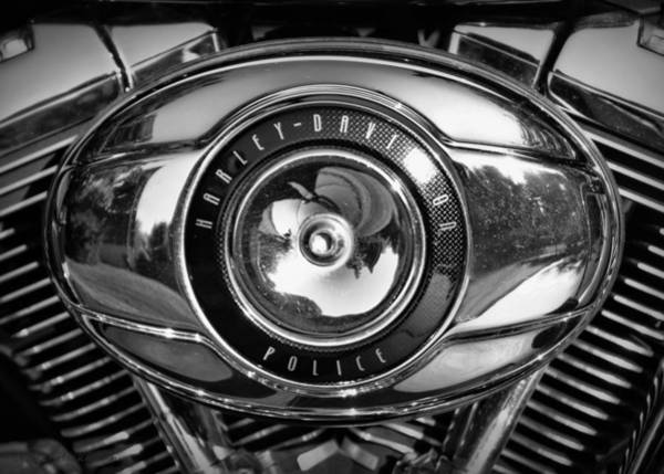 Photograph - Harley-davidson Police B And W by Cricket Hackmann