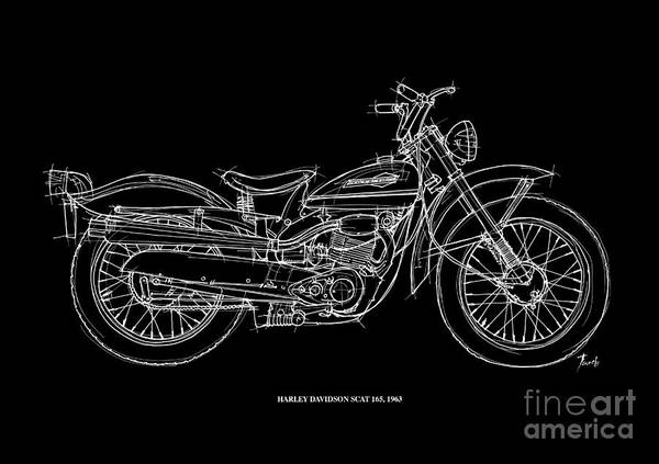 White Background Drawing - Harley Davidson Scat 165 1963 by Drawspots Illustrations