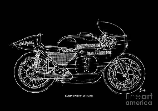 White Background Drawing - Harley Davidson Xr 750 1968 by Drawspots Illustrations