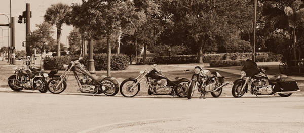 Harley Davidson Black And White Wall Art - Photograph - Harley Line Up by Laura Fasulo