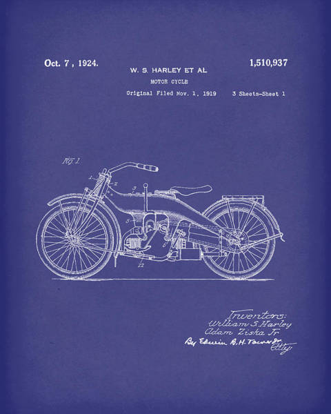 Wall Art - Drawing - Harley Motorcycle 1924 Patent Art Blue by Prior Art Design