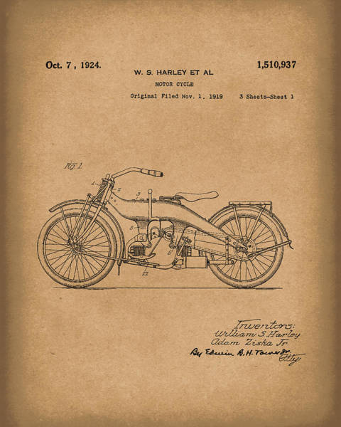 Wall Art - Drawing - Harley Motorcycle 1924 Patent Art Brown by Prior Art Design