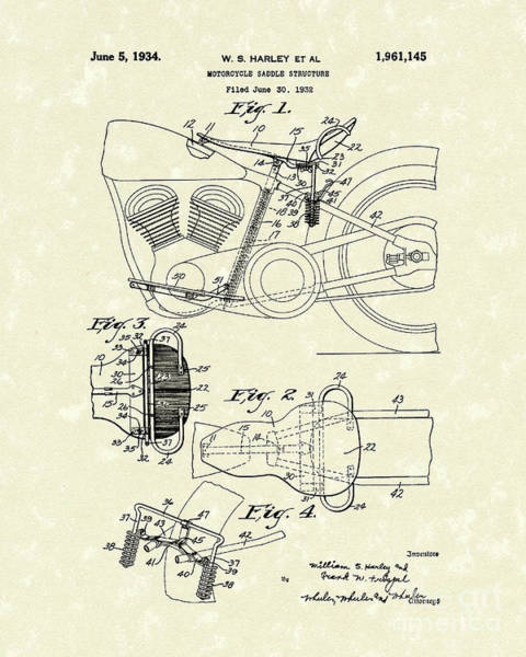 Drawing - Harley Saddle 1934 Patent Art by Prior Art Design