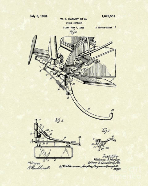 Drawing - Harley Support 1928 Patent Art by Prior Art Design