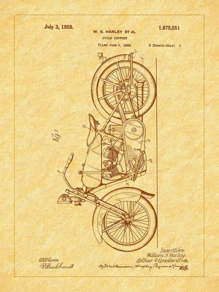 Photograph - Harley's 1928 Cycle Support Patent by Barry Jones