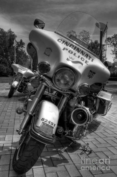 Photograph - Harleys In Cincinnati Bw by Mel Steinhauer