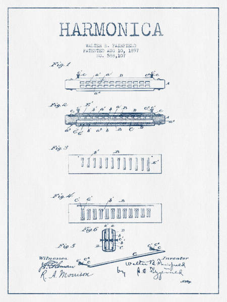 Organ Digital Art - Harmonica Patent Drawing From 1897  - Blue Ink by Aged Pixel