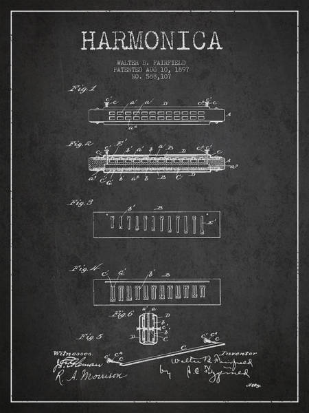 Organ Digital Art - Harmonica Patent Drawing From 1897 - Dark by Aged Pixel
