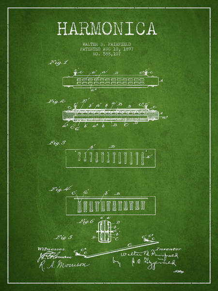 Organ Digital Art - Harmonica Patent Drawing From 1897 - Green by Aged Pixel