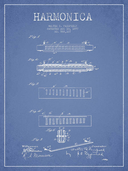 Organ Digital Art - Harmonica Patent Drawing From 1897 - Light Blue by Aged Pixel