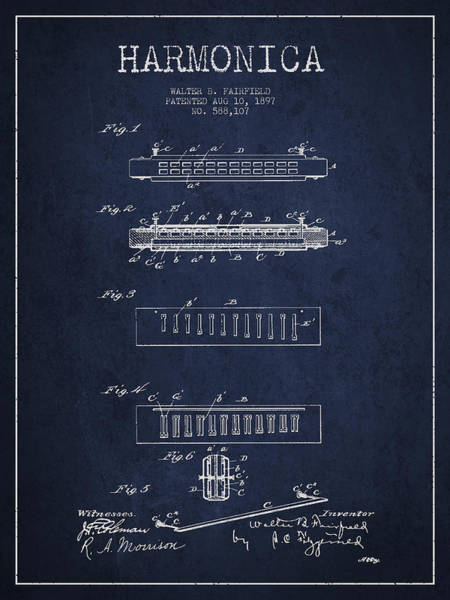 Organ Digital Art - Harmonica Patent Drawing From 1897 - Navy Blue by Aged Pixel