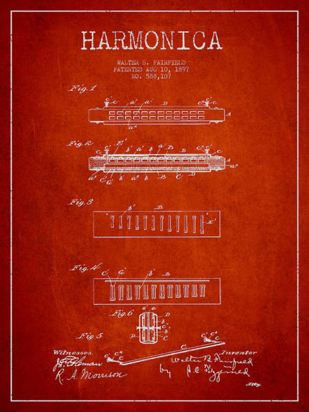 Organ Digital Art - Harmonica Patent Drawing From 1897 - Red by Aged Pixel