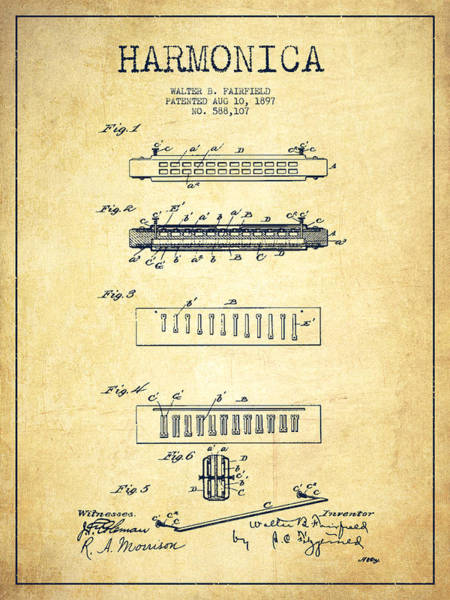 Organ Digital Art - Harmonica Patent Drawing From 1897 - Vintage by Aged Pixel