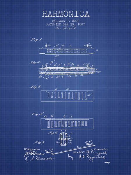 Organ Digital Art - Harmonica Patent From 1897 - Blueprint by Aged Pixel