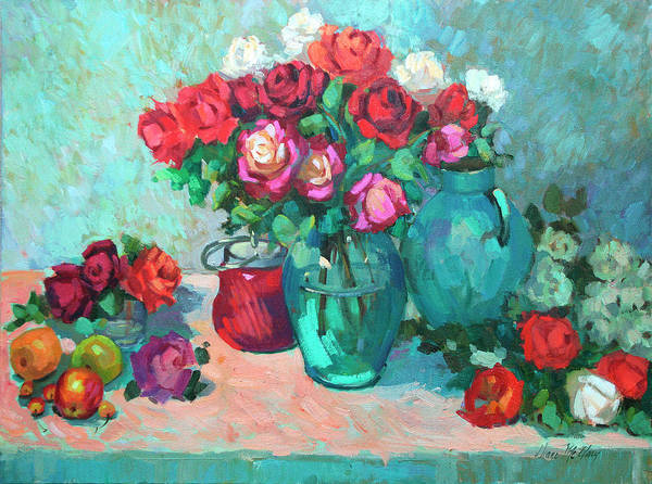 Red Onion Painting - Harmony In Red Roses by Diane McClary