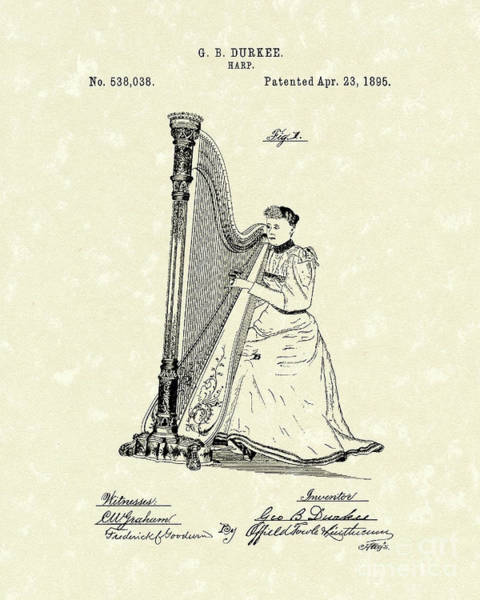 Wall Art - Drawing - Harp 1895 Patent Art by Prior Art Design
