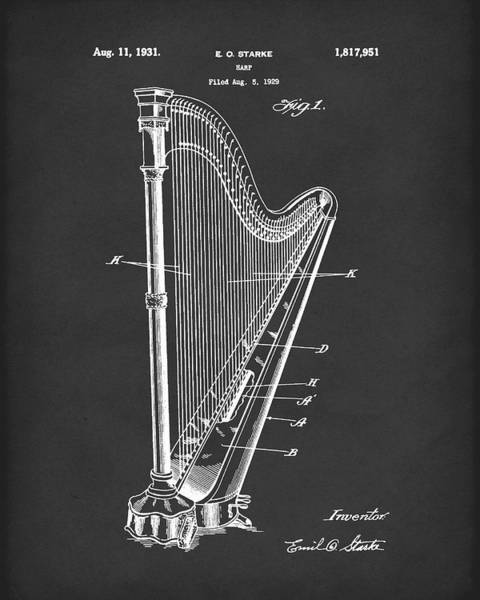 Drawing - Harp 1931 Patent Art Black by Prior Art Design