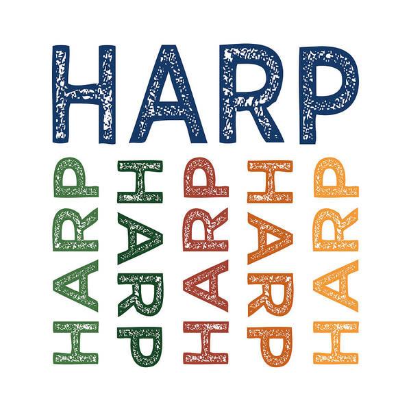 Harp Digital Art - Harp Cute Colorful by Flo Karp