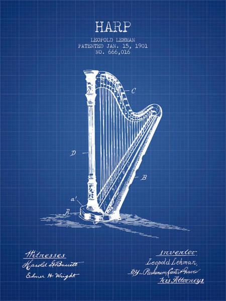 Harp Digital Art - Harp Music Instrument Patent From 1901 - Blueprint by Aged Pixel