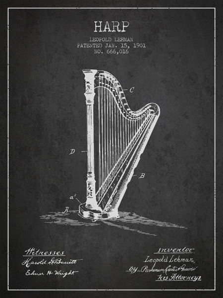 Harp Digital Art - Harp Music Instrument Patent From 1901 - Charcoal by Aged Pixel