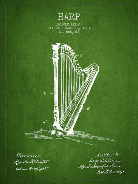 Harp Digital Art - Harp Music Instrument Patent From 1901 - Green by Aged Pixel