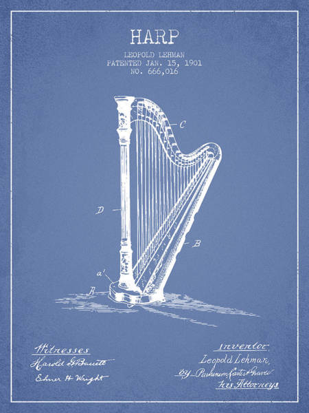 Harp Digital Art - Harp Music Instrument Patent From 1901 - Light Blue by Aged Pixel
