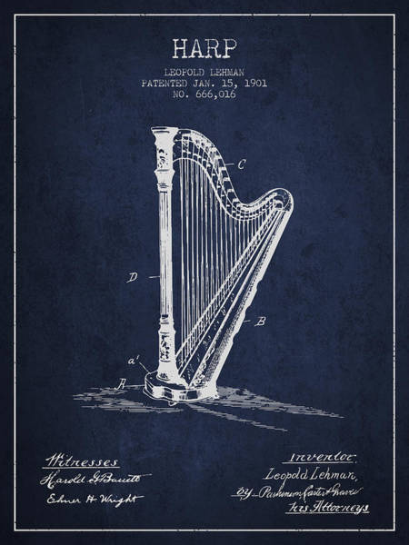 Harp Digital Art - Harp Music Instrument Patent From 1901 - Navy Blue by Aged Pixel
