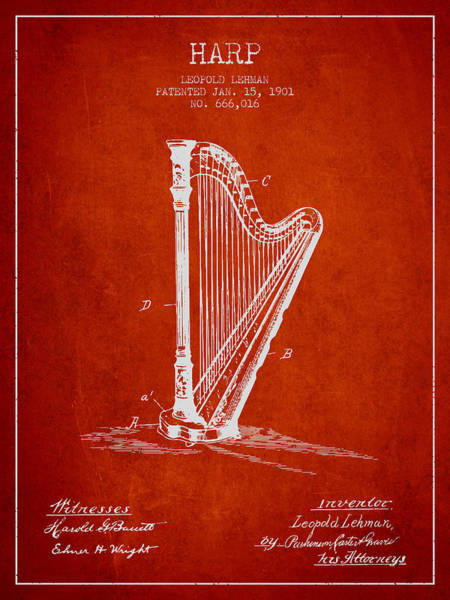 Harp Digital Art - Harp Music Instrument Patent From 1901 - Red by Aged Pixel