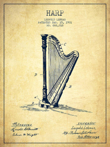Harp Digital Art - Harp Music Instrument Patent From 1901 - Vintage by Aged Pixel