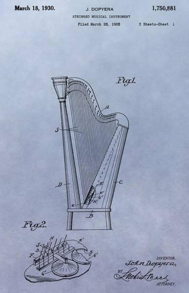 Harp Digital Art - Harp Patent by Dan Sproul