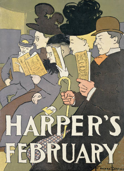 Wall Art - Photograph - Harpers February, 1897 Colour Litho by Edward Penfield